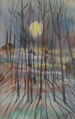 Irina Maiboroda; Cold Sun Of Spring, 2014, Original Watercolor, 8 x 13 cm. Artwork description: 241 countryside,  spring, sun, threes, cold, nature, village, Russia, landscape ...