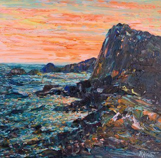 Irina Maiboroda; Crimea Sunset, 2017, Original Painting Acrylic, 25 x 25 cm. Artwork description: 241 landscape,  impressionism, nature, Crimea, sunset, sea, rocks, cliffs   coastD+- cove...