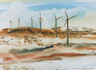 Irina Maiboroda; Dutch Landscape, 2004, Original Watercolor, 40 x 30 cm. Artwork description: 241 Netherlands, landscape, Dutch,nature, windmills,  energy, wind, watercolors  ...