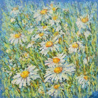 Irina Maiboroda; Mayweeds, 2016, Original Mixed Media, 13 x 13 cm. Artwork description: 241 flowers, summer,  impressionism, sun, meadows, floral, mixed media ...