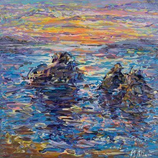 Irina Maiboroda; Sea Landscape With Rocks, 2017, Original Painting Acrylic, 13 x 13 cm. Artwork description: 241 sea, coastal line, landscape, sunset, water, nature, rocks, marinism...