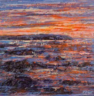 Irina Maiboroda; Sea Sunset, 2017, Original Mixed Media, 25 x 25 cm. Artwork description: 241 landscape, impressionism, sea, sunset, sky, nature, horizon,   water,  ...