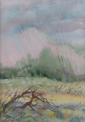 Irina Maiboroda; Summer Rain, 2002, Original Watercolor, 12 x 17 cm. Artwork description: 241 landscape, watercolor, rain, river Don, south, sunset, pain air...