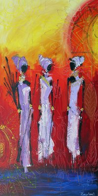 Irina Rumyantseva; African Spirit, 2015, Original Painting Acrylic, 20 x 40 inches. Artwork description: 241  A strikingly colourful and detailed figurative painting. African tribal art painted on deep edge box canvas, ready to hang. A unique take to an increasingly popular topic, the artist keeps the traditional aspects of the usual tribal figurative piece, yet giving the it more colour and atmosphere. ...