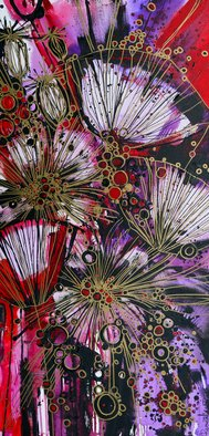 Irina Rumyantseva; Explosive Flowers, 2015, Original Painting Acrylic, 20 x 40 inches. Artwork description: 241  A unique style of floral painting. Blossoming abstract poppies using purple/ lilac and pink acrylic flowers on deep edge box canvas, ready to hang. ...