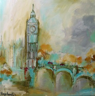 Irina Rumyantseva; London Gold, 2015, Original Painting Acrylic, 20 x 20 inches. Artwork description: 241  A wonderfully detailed cityscape painting and unique depiction of London's iconic skyline with the buildings and architecture of Big Ben ( Victoria Tower) , Westminster Abbey, bridge and the River Thames.  ...