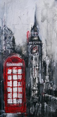 Irina Rumyantseva; Red Telephone Box, 2015, Original Painting Acrylic, 12 x 23.5 inches. Artwork description: 241   A unique style of cityscape combining classic fine art with modern abstract and contemporary. Deep edge box canvas with painted sides, ready to hang.   ...
