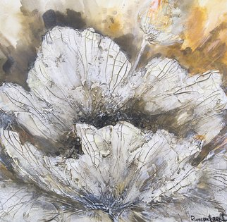 Irina Rumyantseva; Spring White Flower, 2015, Original Painting Acrylic, 20 x 20 inches. Artwork description: 241  A heavily textured floral acrylic painting, white flower blossoming on a rich golden brown background. Painted on a deep edge box canvas, ready to hang.  ...