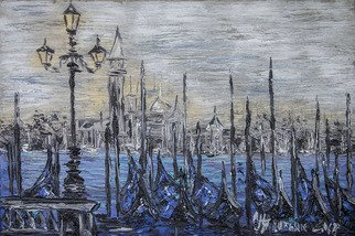 Irina Tretyak; Evening Promenade, 2016, Original Painting Oil, 80 x 120 cm. Artwork description: 241   the lamps along the Embankment shone without purpose, as if they had been freed .John GalsworthyPainting: oil on canvasKeywords: Promenade, evening, lights on the waterfront, the evening promenade, pier...