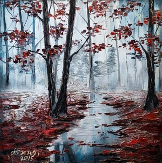 Irina Tretyak; Mirror On The Purple Carpet, 2015, Original Painting Oil, 70 x 70 cm. Artwork description: 241 What a bliss to stay again with himself , to go deep into yourself and enjoy the tranquility of forests  Knut HamsunPainted: oil on canvas...