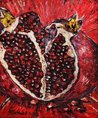 Irina Tretyak; Pomegranate, 2016, Original Painting Oil, 100 x 120 cm. Artwork description: 241  The red sounds, shines like the fire, and in the fire