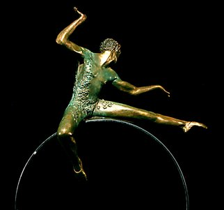 Martin Glick; Puck, 2011, Original Sculpture Bronze, 20 x 33 inches. Artwork description: 241   Puck is a character in both the play and the ballet A Midsummer's Night Dream?  Puck is an impish character that is very wise.  This sculpture is a patinated bronze dancer on top of a chrome plated steel hoop. ...