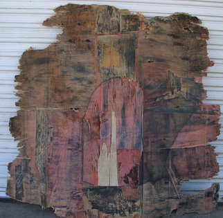 Tamara Sorkin; Reclaimed Plywood, 2013, Original Mixed Media, 120 x 120 cm. Artwork description: 241      old plywood retrieved from the rubbish dump has tons of character in its layers and cracks. All one has to do is enhance it.                    ...