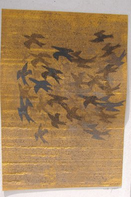 Tamara Sorkin; Starlings Over Fields, 2014, Original Printmaking Other, 25.5 x 35 cm. Artwork description: 241      this is a print and collage                                ...