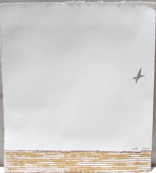 Tamara Sorkin; The Lone Bird, 2014, Original Printmaking Other, 27.5 x 24 cm. Artwork description: 241          this is a collograph and foam print plus sand collage on paper                                 ...