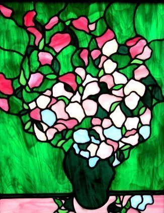 Iva Kalikow; Pink Roses, 2017, Original Glass Stained, 22 x 27 inches. Artwork description: 241 Inspired by Van Gogh. When I learned that Van Gogh s painting of these pink roses had faded over the years, I was inspired to bring them back to their original vibrancy with glass in shades of soft and vibrant pink. This panel includes 283 hand- cut ...