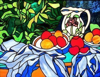 Iva Kalikow; Still Life Flowered Pitcher, 2018, Original Glass Stained, 29 x 23 inches. Artwork description: 241 This glassart panel is inspired by CA(c)zanne s still life which are renowned for their balance of form and color.  I was inspired to bring more vibrancy to the colors using strong greens, reds, and blues.  I WELCOME CUSTOM ORDERS. ...