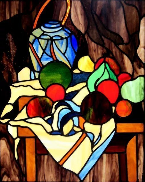Iva Kalikow; Still Life With Ginger Jar, 2019, Original Glass Stained, 22 x 27 inches. Artwork description: 241 This leaded stained glass art panel is inspired by Cezanne and his masterful interpretations of still lifes emphasizing form and color.  I chose glass with multiple colors that I cut to create the shades of the fruits and the shadows of the tablecloth giving it more vibrancy ...