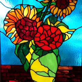 Iva Kalikow, , , Original Glass Stained, size_width{Sunflowers-1553951366.jpg} X 27 inches