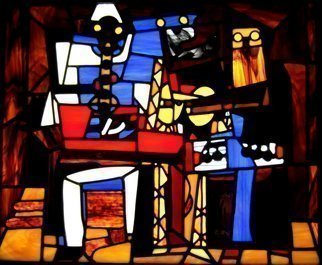 Iva Kalikow; Three Musicians, 2018, Original Glass Stained, 26 x 22 inches. Artwork description: 241 This leaded stained glass art panel is inspired by Picasso and is a perfect example of Picasso s Cubist style, the three musicians are modeled after characters in the old Italian comic theatre - Pierrot playing the clarinet, Harlequin playing the guitar and a singing Monk holding sheet ...