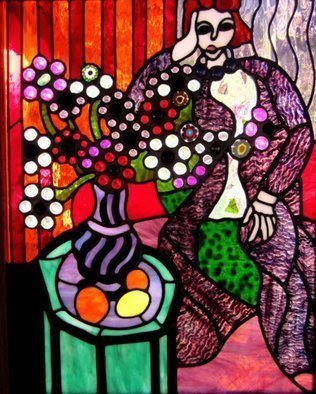 Iva Kalikow; Woman In Purple Robe, 2018, Original Glass Stained, 22 x 27 inches. Artwork description: 241 This leaded stained glass art panel is inspired by Matisse.  Matisse is known for his masterful use of color and pattern.  I was inspired to bring his colors to life with glass in vibrant orange, red, and of course the focus of the brilliant purple of the ...