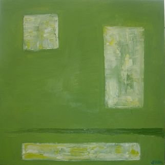Ivonne Villafuerte; Green Window, 2005, Original Painting Oil, 20 x 20 inches. Artwork description: 241  Sometimes we want to escape from our reality and we wish to have a green window. ...