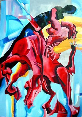 Justineivu Justineivu; RED HORSE, Oil On Canvas, 2006, Original Painting Oil, 40 x 55 inches. Artwork description: 241   ORIGINAL OIL PAINTING ON CANVAS                ...