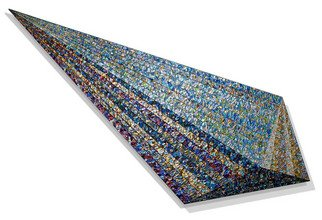 Jack Reilly; Basic Wedge In 4,882 Parts, 2009, Original Painting Acrylic, 96 x 39 inches. Artwork description: 241  acrylic polymers and metallic pigment on shaped canvas, (c) 2009 ...