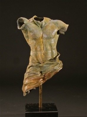 Jack Hill; Body Armor  draped torso, 2012, Original Sculpture Bronze, 6 x 12 inches. Artwork description: 241    Figurative work in fragmented formate  draped male torso/ fragmented  ...