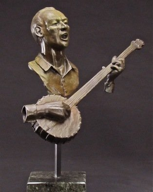 Jack Hill; Pete, 2011, Original Sculpture Bronze, 20 x 21 inches. Artwork description: 241  Portrait of folk singer Pete Seeger    A tooth brush as teeth and toothpaste squeezed into a tuba shape   ...