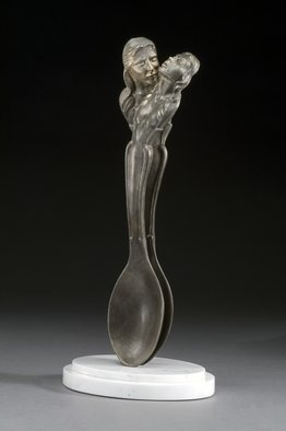 Jack Hill; Spooning, 2006, Original Sculpture Bronze, 5 x 13 inches. Artwork description: 241 two lovers sculpted as spoons in an amorus embrace ...