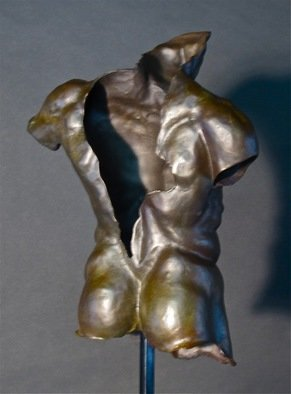 Jack Hill; Male Torso Old Soldier Back, 2015, Original Sculpture Bronze, 11 x 15 inches.