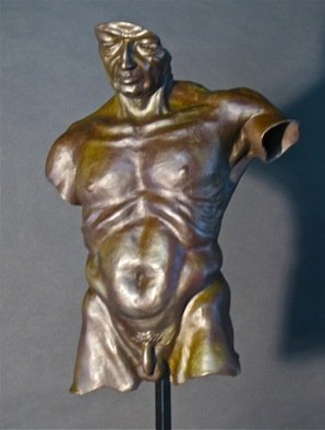 Jack Hill; Male Torso Old Soldier Front, 2012, Original Sculpture Bronze, 11 x 15 inches.