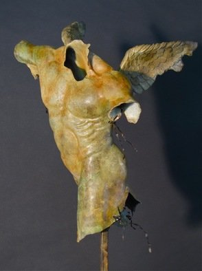 Jack Hill; Male Torso Winged Front View, 2012, Original Sculpture Bronze, 12 x 18 inches.