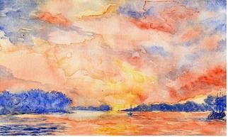 Jacqueline Weegels Burns; Chesapeake Sunrise, 2005, Original Watercolor, 10 x 7 inches. Artwork description: 241 A warm sunrise on the Chesapeake Bay. Unframed....