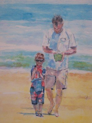 Jacqueline Weegels Burns; Curtis And Dad On The Beach, 2009, Original Watercolor, 18 x 24 inches. Artwork description: 241  Curtis and his dad, Dave, are taking a walk on the beach with their buckets. ...