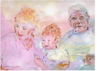Jacqueline Weegels Burns; Curtis With Grandma And G..., 2007, Original Watercolor, 18 x 24 inches. Artwork description: 241  This is the 3rd commissioned portrait I' ve done of this adorable little boy from Minneapolis. Each time I' ve incorporated 2- 3 photos into the final ready to hang painting. Curtis is sitting in between the grandparents....