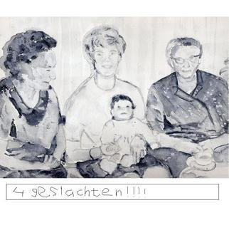 Jacqueline Weegels Burns; Four Generations, 2006, Original Watercolor, 24 x 18 inches. Artwork description: 241  Grandmother, mother, child and great- grandmother Hanssen in 1968. Four generations in black and white. ...