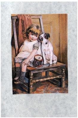 Jacqueline Weegels Burns; Girl With Dog 3D, 2005, Original Collage, 4 x 6 inches. Artwork description: 241 An example of a 3- D collage card. This one is of a young girl sitting on a chair with her drum and her dog....