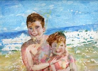 Jacqueline Weegels Burns; Mark And Joe, 2005, Original Watercolor, 10 x 8 inches. Artwork description: 241 Mark and Joe Diemer were enjoying a bright day at the beach, with the waves crashing onto the sand behind them....