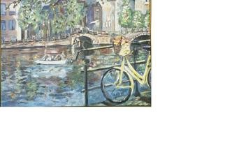 Jacqueline Weegels Burns; Yellow Bicycle, 1997, Original Painting Oil, 24 x 18 inches. Artwork description: 241 With gilded frame and mat. I grew up in the Netherlands, where the bicycle is an important part of daily life. This Amsterdam scene captures the essence of this sturdy, dependable' fiets' .  NOTE: Framed....