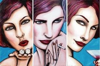 Janet Allinger; Vices Circa 1940  Triptych, 2004, Original Painting Acrylic, 72 x 48 inches. Artwork description: 241 Gambling, smoking & drinking make up this 3 panel piece.  each painting is 24x48...