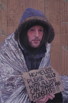 James Earley; A Cardboard Story, 2021, Original Painting Oil, 51 x 76 cm. Artwork description: 241 I met Simon in 2020 on the streets of Southampton. It was a really cold day and it had just started to rain. We spoke about his journey to where he was and like many homeless people that I have met the journey was a sad and ...
