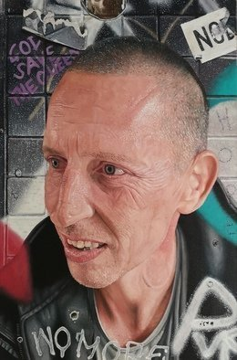 James Earley; Joes Wall, 2020, Original Painting Oil, 40 x 60 cm. Artwork description: 241 aEURoeJoesaEURtm WallaEUR is an oil on canvas painting of Joe Crow. Joe is homeless and he lives on the streets of Winchester. Joe is one of the most gentle guys that I have ever encountered. He lives every second of his life and every second of his ...