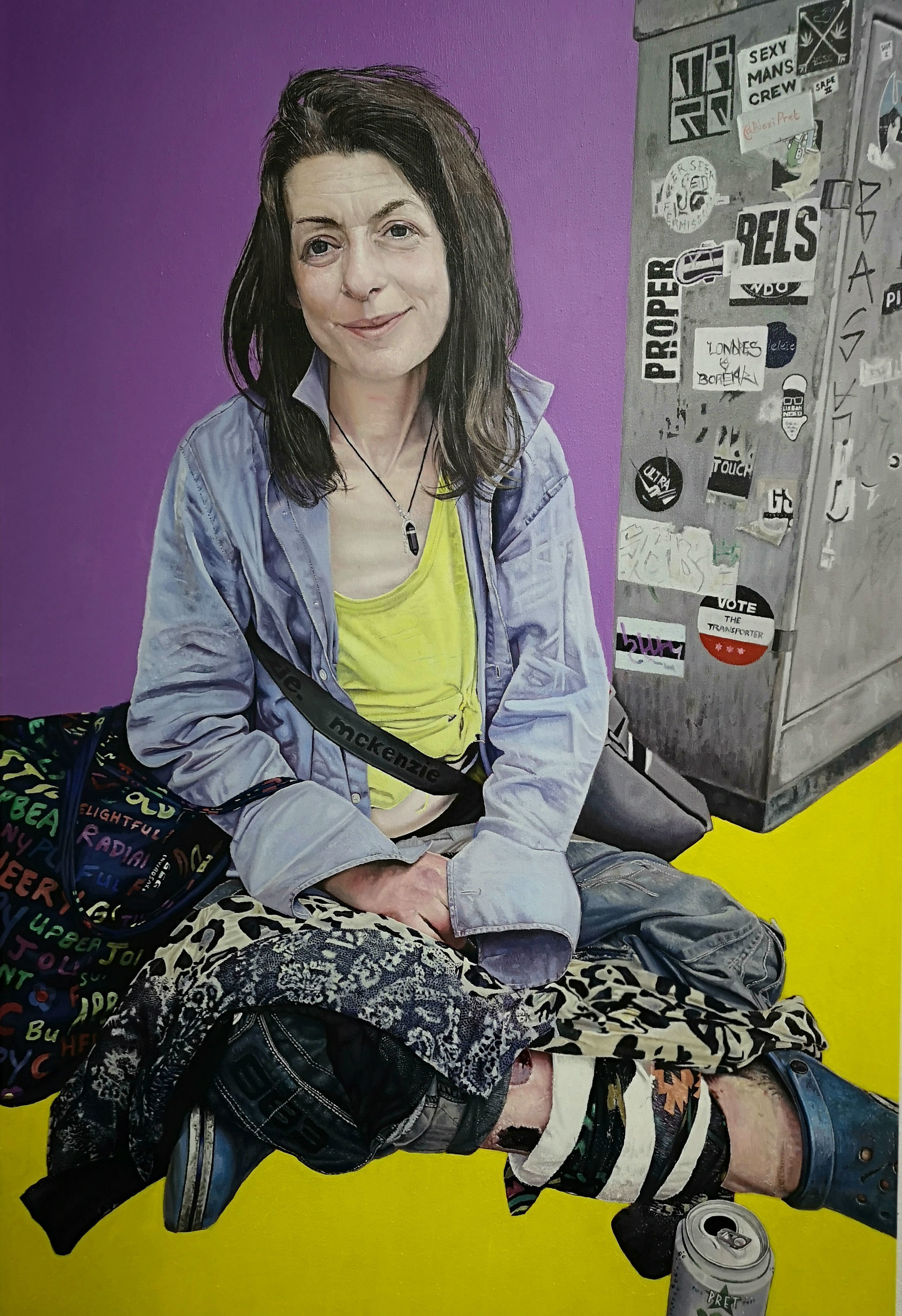 James Earley; The Yellow Road, 2019, Original Painting Oil, 60 x 80 cm. Artwork description: 241 I met Sarah outside South Kensington Tube Station in 2019.  She was extremely tired and had just been moved along by a Security Guard.  I got to know her over a seven day period and as I sketched her I got to understand her story.  As with ...