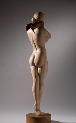 James Mcloughlin; Female Figure, 2009, Original Sculpture Wood, 6 x 18 inches. Artwork description: 241  This was carved out of limewood and the scarf and base are walnut.   ...