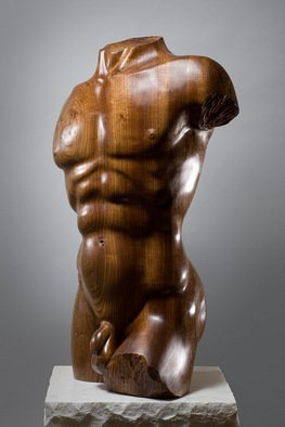 James Mcloughlin; Male Torso, 2010, Original Sculpture Wood, 23 x 36 inches. Artwork description: 241  This was carved out of Welsh Elm which is very rare these days.    ...