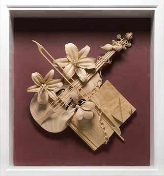 James Mcloughlin; Musical Trophy, 2011, Original Sculpture Wood, 27 x 30 inches. Artwork description: 241  This was inspired by the great tradition of music that is with all of us threw out the ages. Its carved out of Limewood.      ...