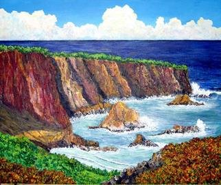 James Parker; Cliffs And Sea, 2003, Original Painting Acrylic, 24 x 20 inches. Artwork description: 241 Crashing waves against hardened pacific  cliffs, a bright sunny afternoon with distant clouds and the dark blue sea make this a pleasing yet powerful scene....