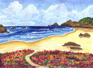 James Parker; Flower Garden Beach, 2003, Original Painting Acrylic, 9 x 7 inches. Artwork description: 241 Flowers along the path leading to the beach highlight this colorful seascape....